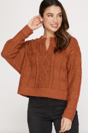 She and Sky Long Sleeve Cable Knit Sweater - Product Mini Image