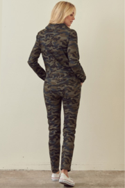 storia Long Sleeve Camo Jumpsuit - Back cropped