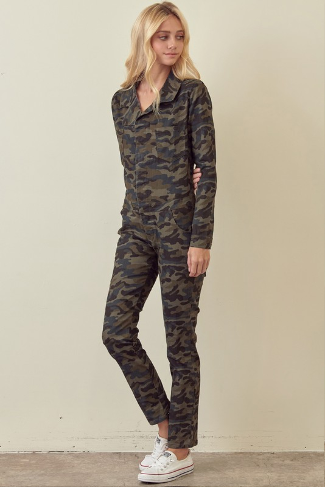 storia Long Sleeve Camo Jumpsuit - Front Full Image