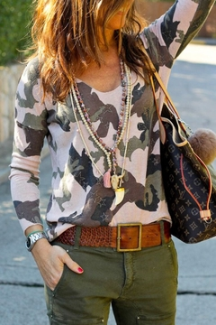 Mazik Long Sleeve Camo with Star Printed Top - Product List Image