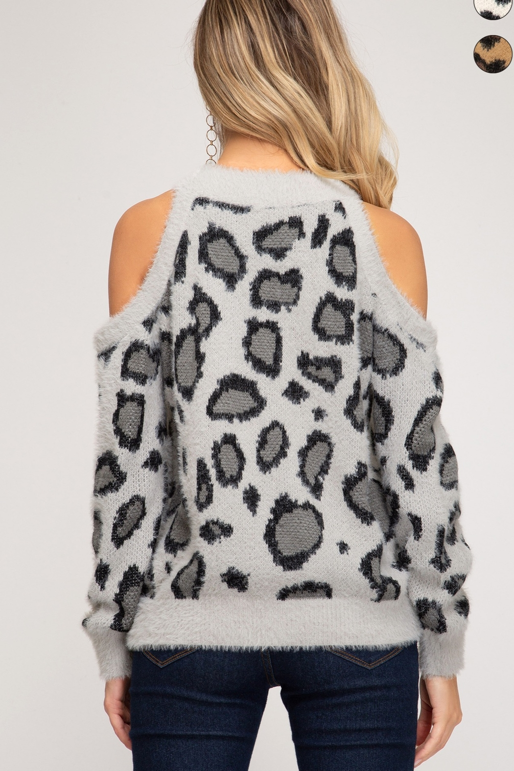 She & Sky  LONG SLEEVE COLD SHOULDER LEOPARD PRINT FUZZY KNIT SWEATER TOP - Side Cropped Image