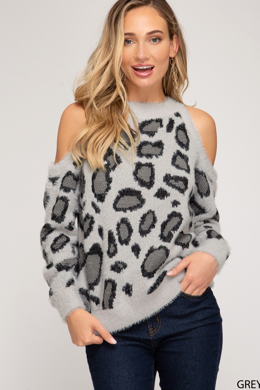 She & Sky  LONG SLEEVE COLD SHOULDER LEOPARD PRINT FUZZY KNIT SWEATER TOP - Main Image