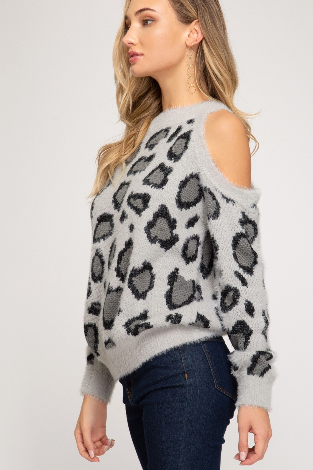 She & Sky  LONG SLEEVE COLD SHOULDER LEOPARD PRINT FUZZY KNIT SWEATER TOP - Front Full Image