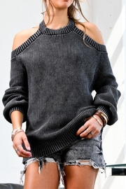 Mazik Long Sleeve Cold Shoulder Sweater - Front cropped