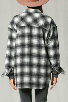 By Together Long sleeve collared checkered jacket with padding - Alternate List Image