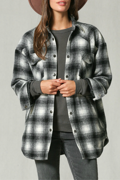 By Together Long sleeve collared checkered jacket with padding - Product List Image