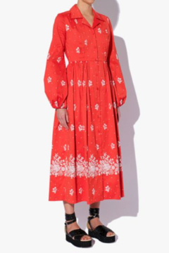 ERDEM LONG SLEEVE COLLARED EMBROIDERED PRINTED MIDI DRESS - Product List Image