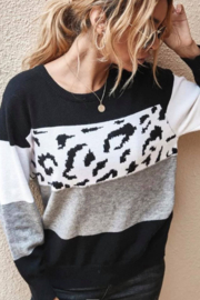 lily clothing Long Sleeve Color Block and Leopard Sweater - Product Mini Image