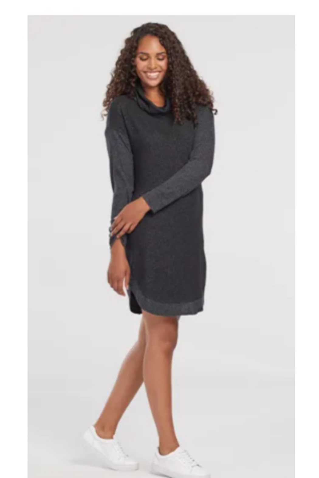 Tribal  Long Sleeve Cowl Neck Dress With Pockets - Main Image