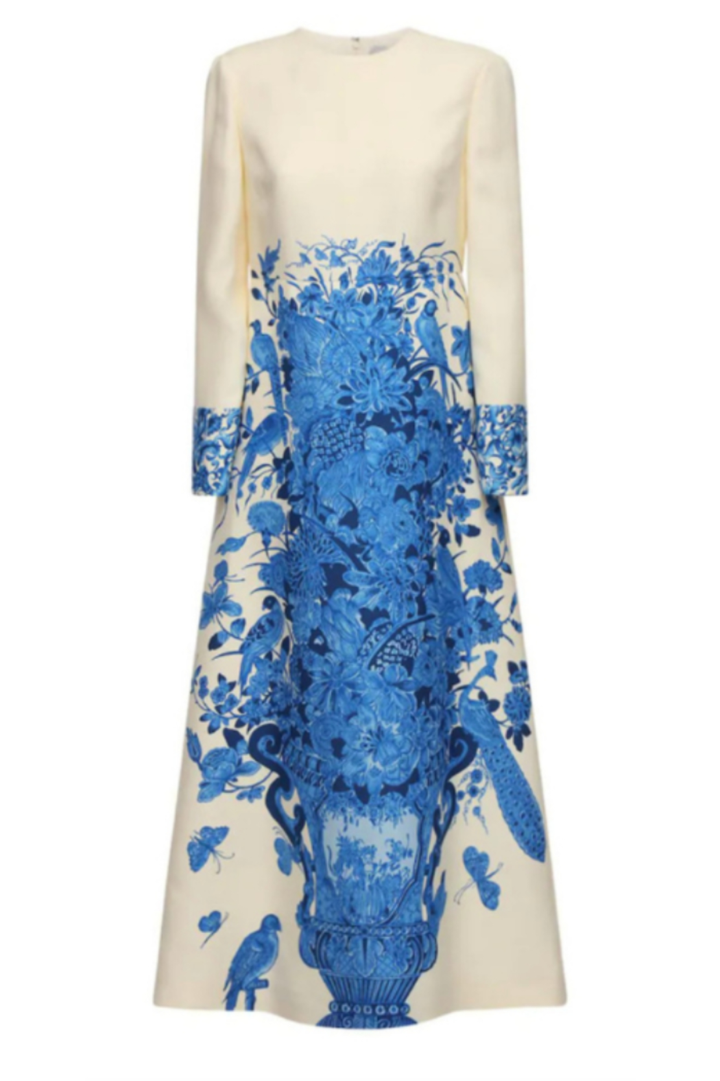 Valentino LONG SLEEVE CREPE COUTURE FLORAL MAXI DRESS - Side Cropped Image