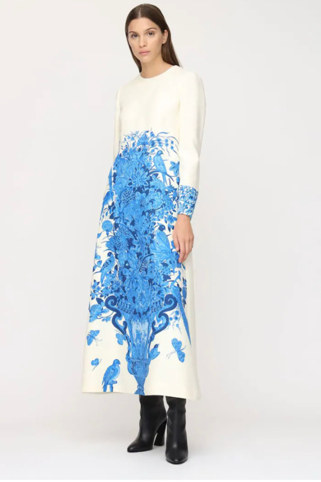 Valentino LONG SLEEVE CREPE COUTURE FLORAL MAXI DRESS - Main Image