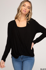 She & Sky  Long Sleeve Drape Surplice - Product Mini Image