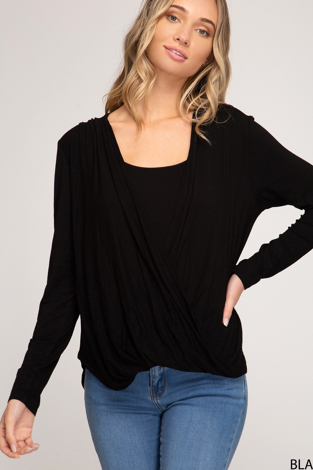She and Sky Long Sleeve Draped Surplice Top - Main Image