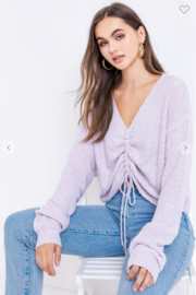 Le Lis long Sleeve Drawstring Sweater - Front cropped