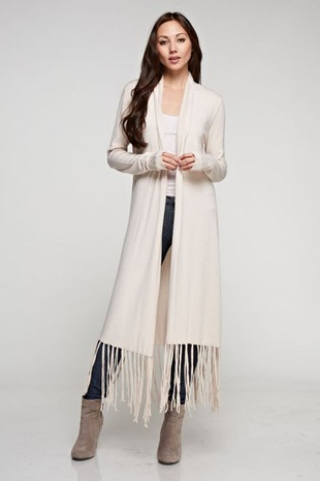 Love Stitch Long Sleeve Duster with Fringe - Main Image