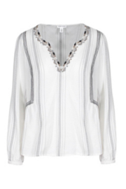 Tribal  Long Sleeve Embroidered Blouse - Front cropped