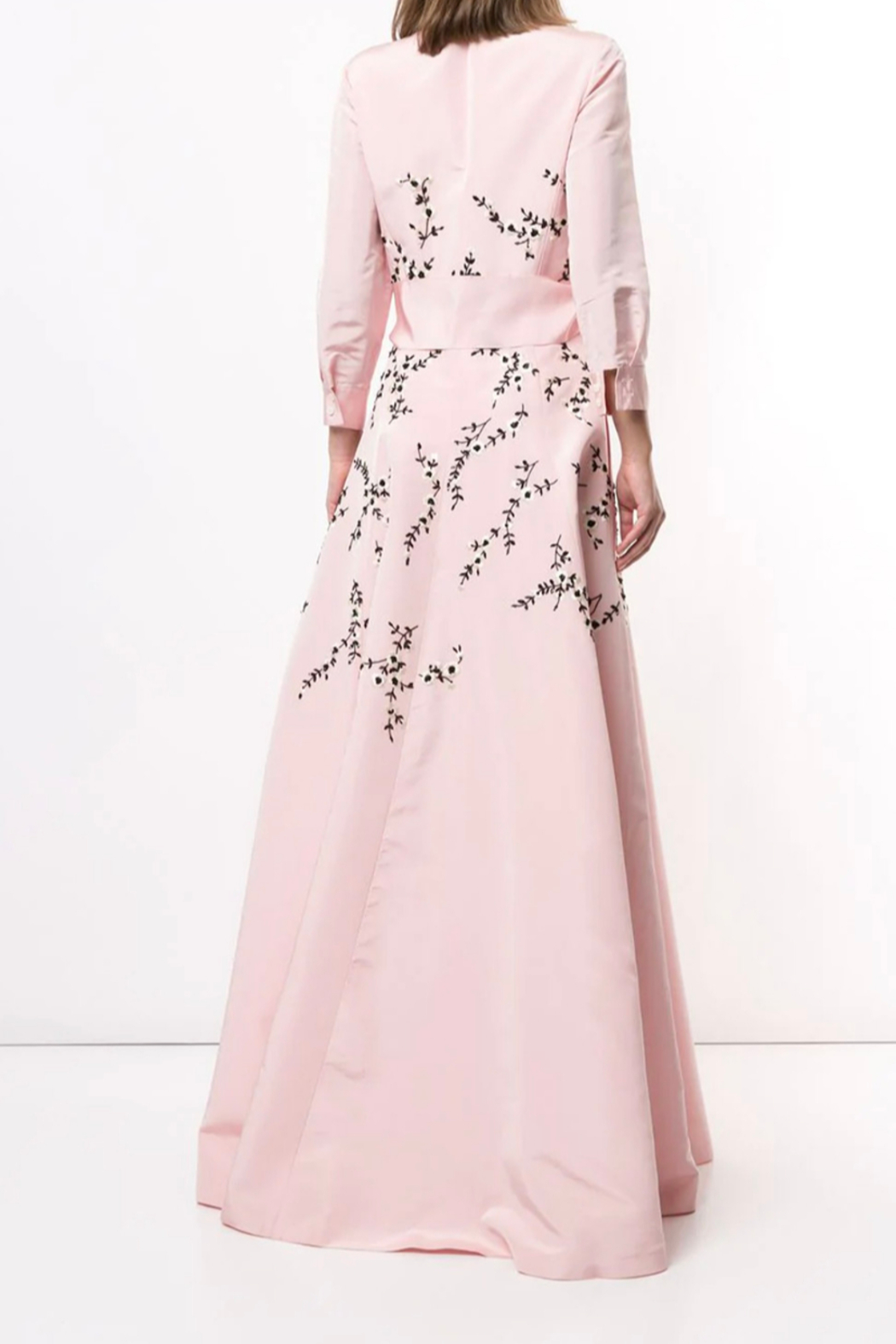 Carolina Herrera  LONG SLEEVE EMBROIDERED TRENCH GOWN - Front Full Image