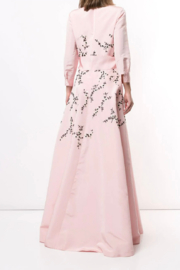 Carolina Herrera  LONG SLEEVE EMBROIDERED TRENCH GOWN - Front full body