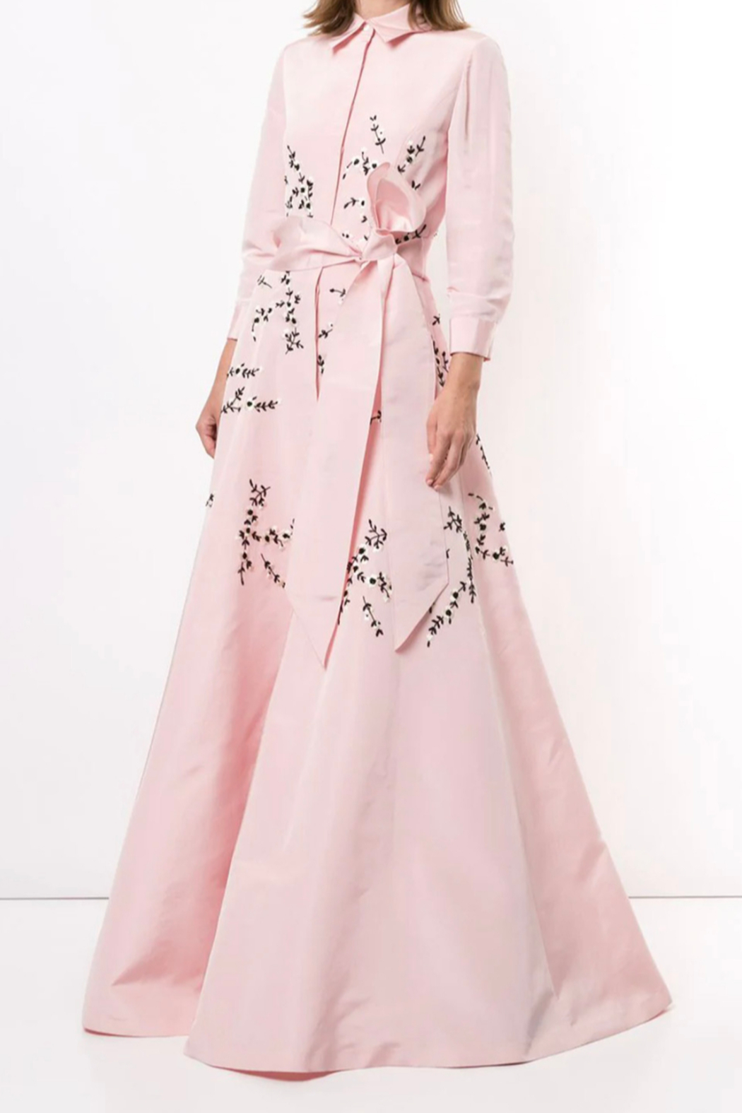 Carolina Herrera  LONG SLEEVE EMBROIDERED TRENCH GOWN - Main Image