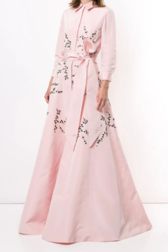 Shoptiques Product: LONG SLEEVE EMBROIDERED TRENCH GOWN