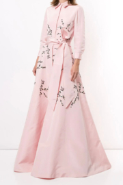Carolina Herrera  LONG SLEEVE EMBROIDERED TRENCH GOWN - Front cropped