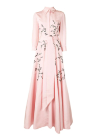 Carolina Herrera  LONG SLEEVE EMBROIDERED TRENCH GOWN - Back cropped