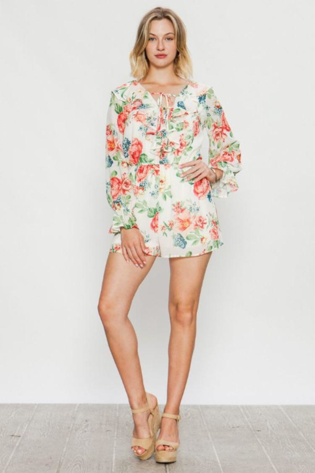 Flying Tomato Long-Sleeve Floral Romper - Main Image