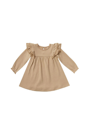 Quincy Mae Long Sleeve Flutter Dress - Honey - Product Mini Image