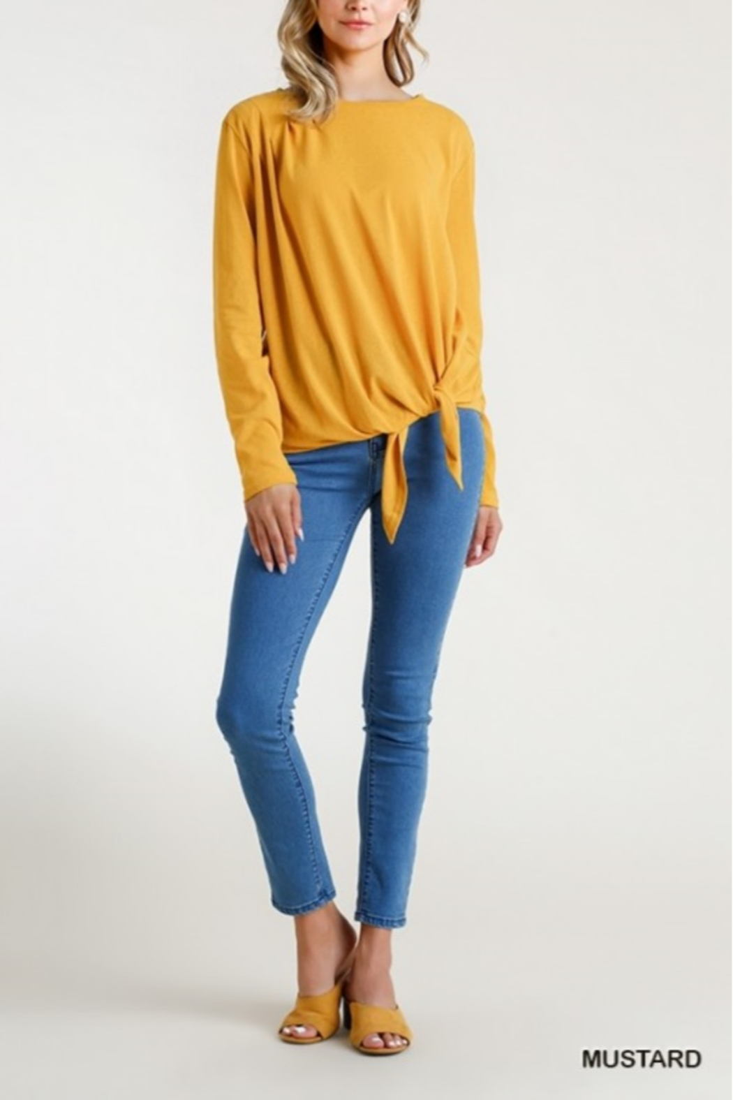 umgee  Long Sleeve Front Tie-able Knot Top - Front Full Image
