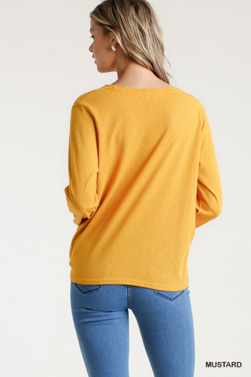 umgee  Long Sleeve Front Tie-able Knot Top - Back Cropped Image