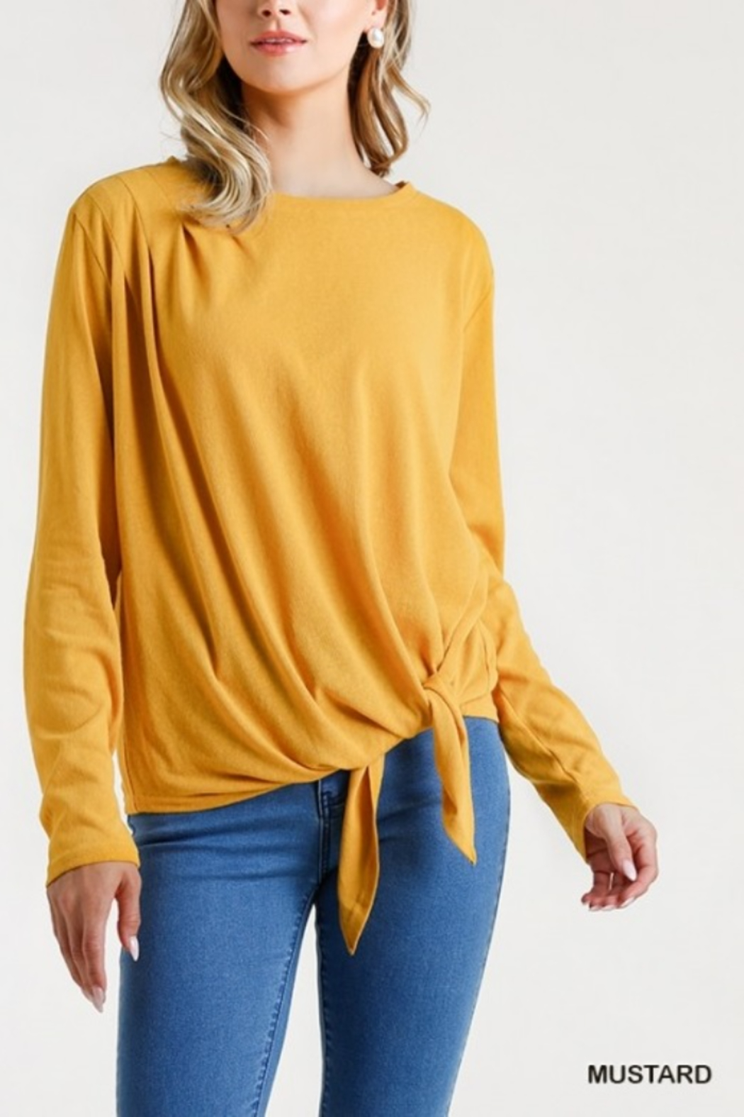 umgee  Long Sleeve Front Tie-able Knot Top - Front Cropped Image