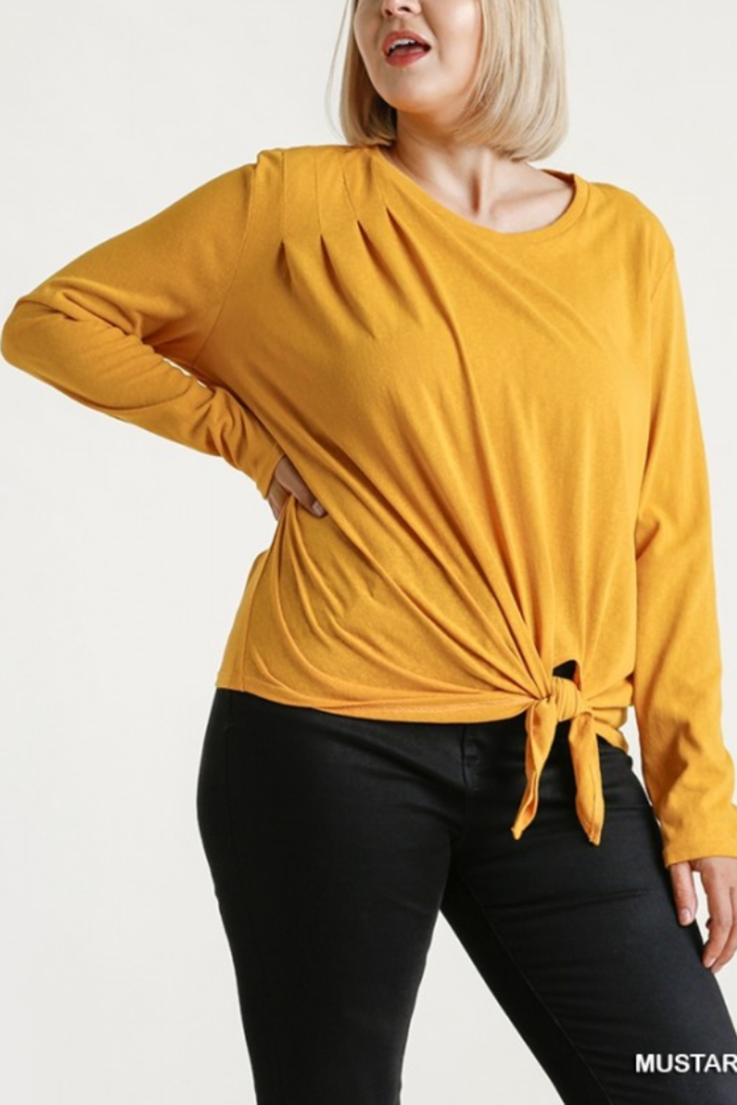 umgee  Long Sleeve Front Tie-able Knot Top Curvy - Main Image