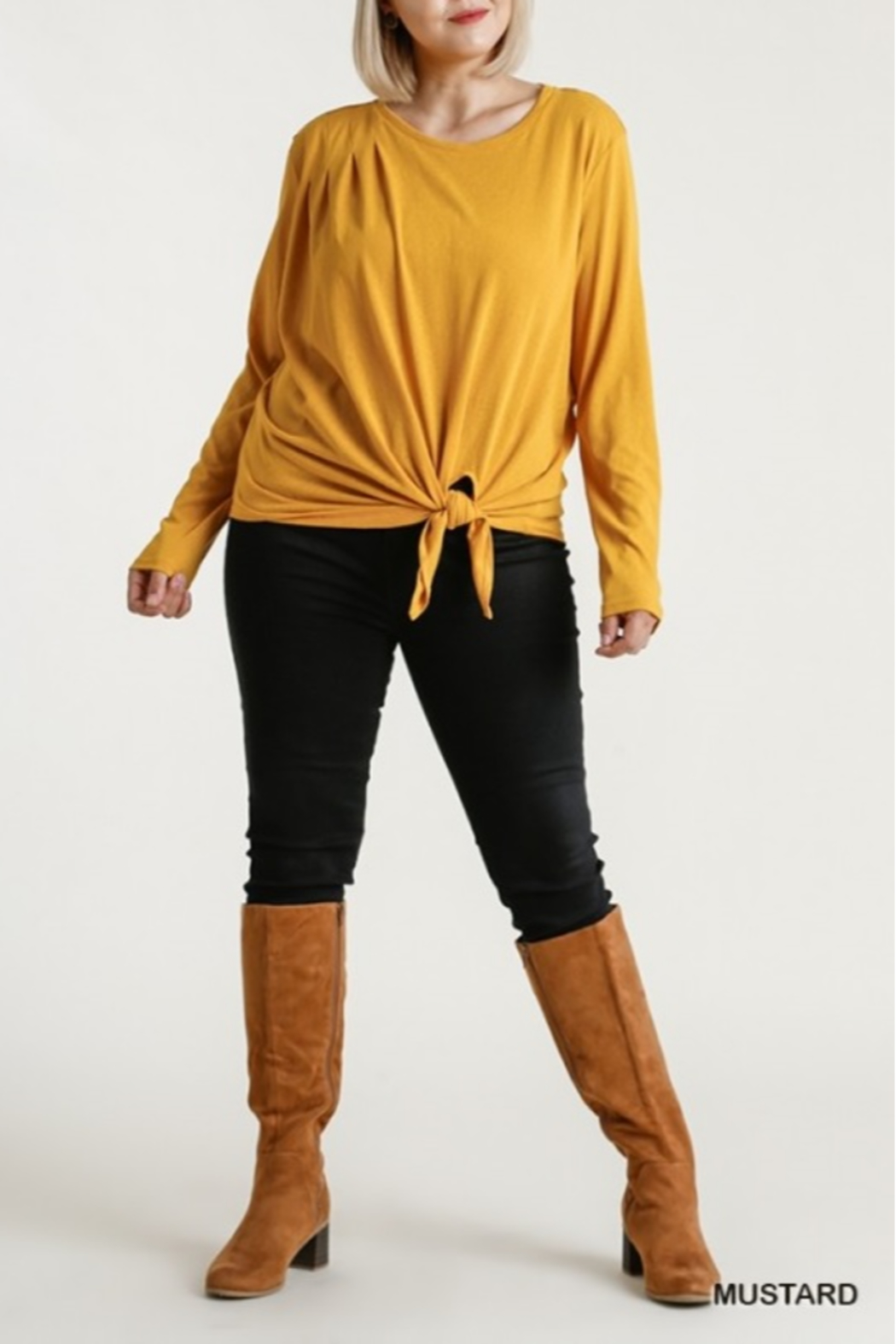 umgee  Long Sleeve Front Tie-able Knot Top Curvy - Front Full Image