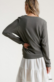 umgee  Long Sleeve Front Tie-able Knot Top - Back cropped
