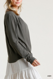 umgee  Long Sleeve Front Tie-able Knot Top - Side cropped