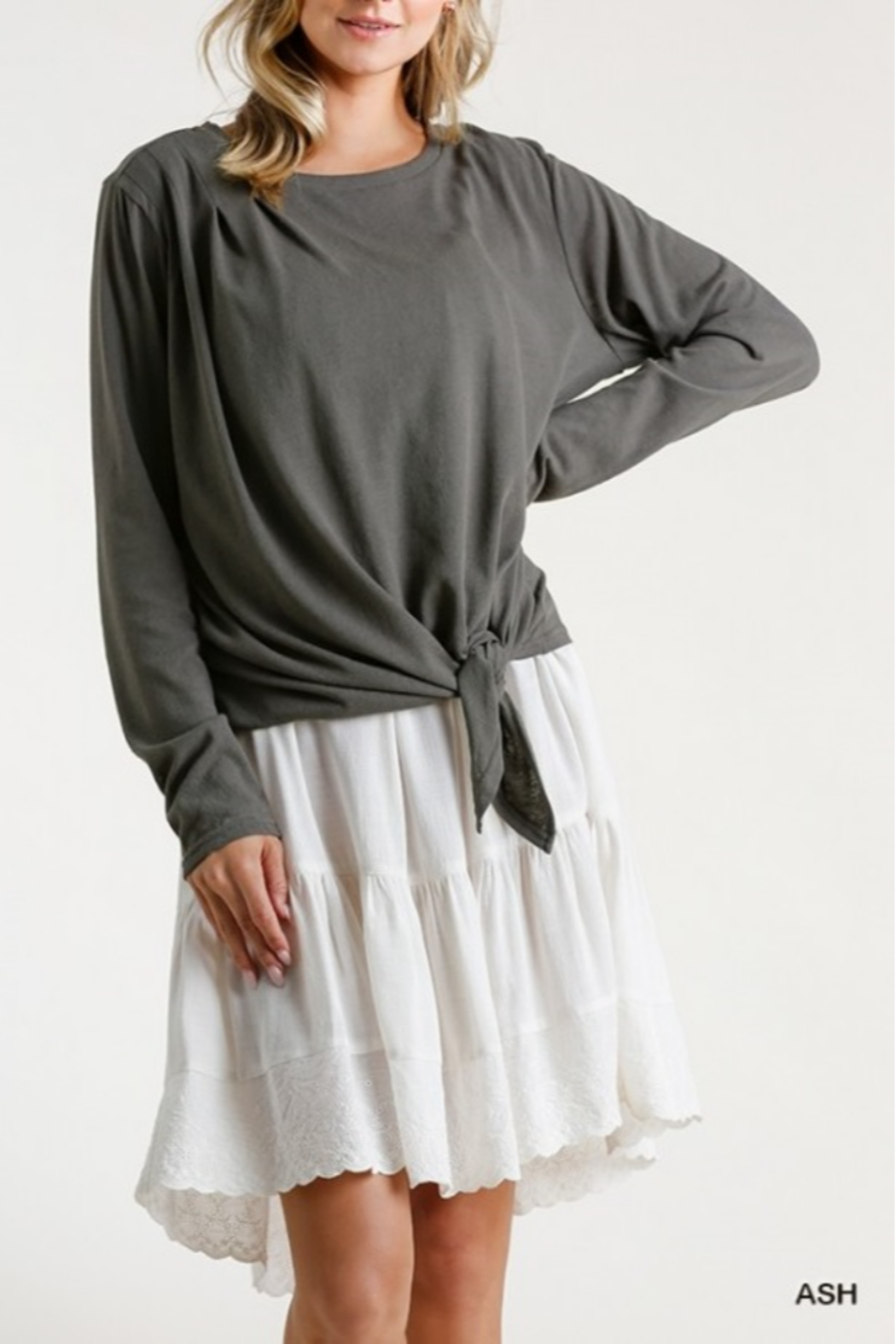 umgee  Long Sleeve Front Tie-able Knot Top - Main Image