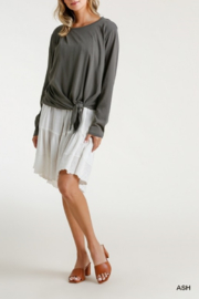 umgee  Long Sleeve Front Tie-able Knot Top - Front full body