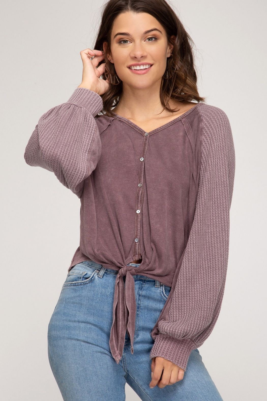 She + Sky Long sleeve garment dyed button down top with front tie - Main Image
