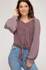 She + Sky Long sleeve garment dyed button down top with front tie - Front cropped