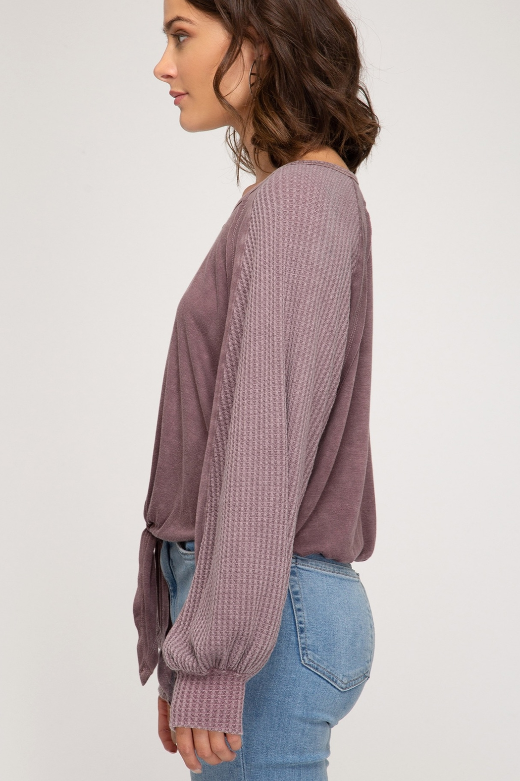 She + Sky Long sleeve garment dyed button down top with front tie - Side Cropped Image