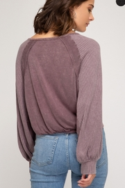 She + Sky Long sleeve garment dyed button down top with front tie - Front full body