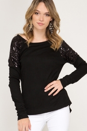 She & Sky  LONG SLEEVE HACCI TOP WITH CONTRAST SEQUIN SHOULDERS - Product Mini Image