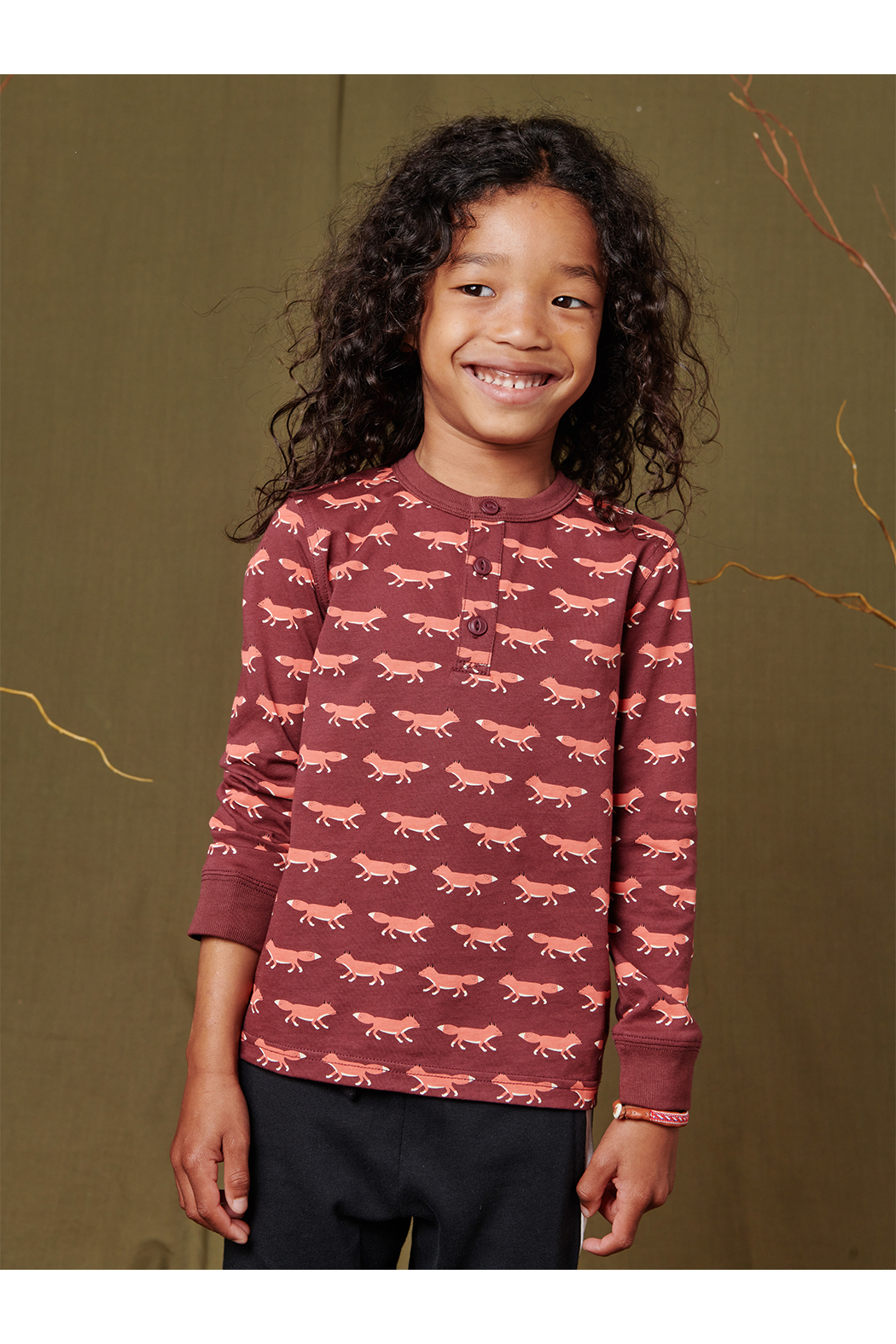 Tea Collection Long Sleeve Henley - Foxtrot - Front Full Image