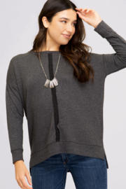 She & Sky  Long Sleeve Hi Low Terry Knit Top - Product Mini Image