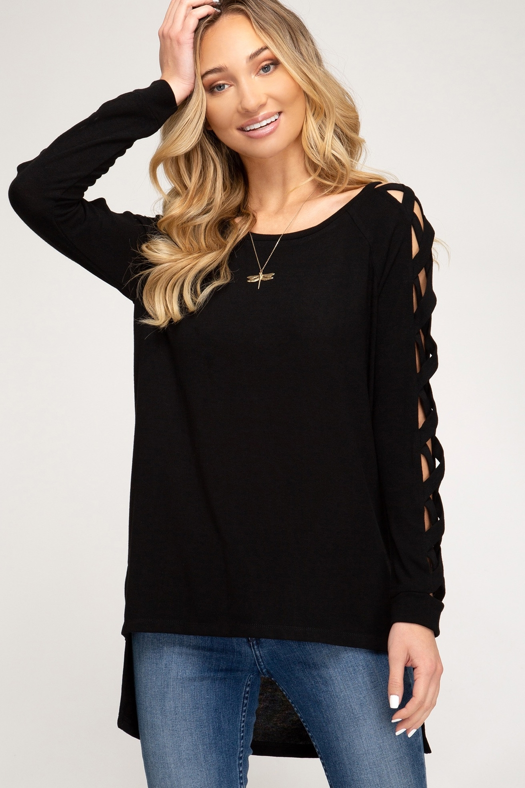 She + Sky Long Sleeve Hi Low top With Strappy Sleeve Detail - Main Image