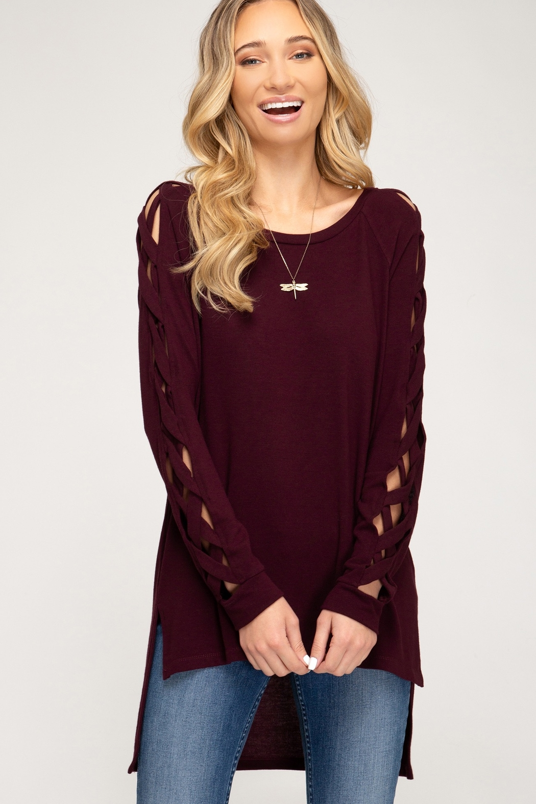 She + Sky Long Sleeve Hi Low top With Strappy Sleeve Detail - Front Full Image