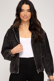 She and Sky Long Sleeve Hooded Corduroy Zip up Bomber Jacket - Product Mini Image