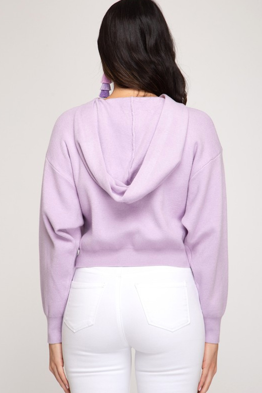 She and Sky Long sleeve hooded knit cropped sweater top - Main Image