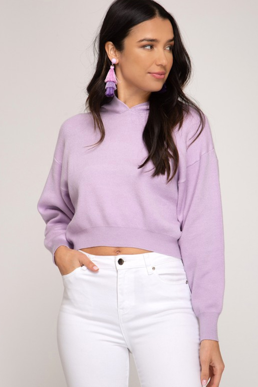She and Sky Long sleeve hooded knit cropped sweater top - Front Cropped Image