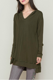 Monoreno Long sleeve hooded tunic top with side slits - Product Mini Image